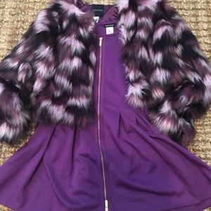 Girls guess Marciano holiday dress and faux fur